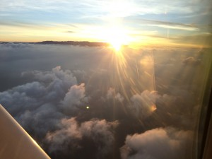 Small plane ride in sunset to Golfito Cost Rica